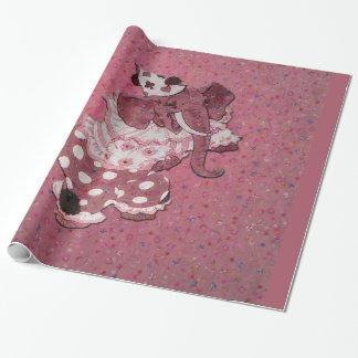 Papel De Presente Elefante retro cor-de-rosa do circo