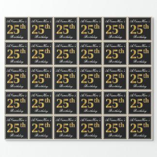 Papel De Presente Elegante, aniversário do ouro do falso 25o + Nome