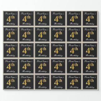Papel De Presente Elegante, aniversário do ouro do falso 4o + Nome