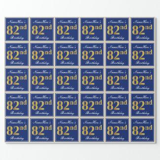 Papel De Presente Elegante, azul, aniversário do ouro do falso 82nd