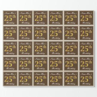 Papel De Presente Elegante, Brown, aniversário do ouro do falso 25o