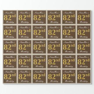 Papel De Presente Elegante, Brown, aniversário do ouro do falso 82nd