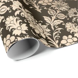 Papel De Presente Elegante preto floral da folha dourada do Sepia do
