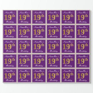Papel De Presente Elegante, roxo, aniversário do ouro do falso 19o +