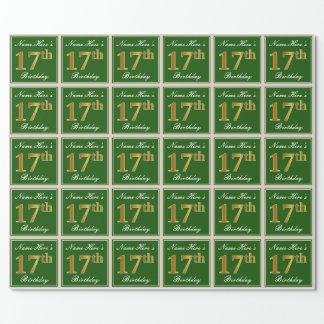 Papel De Presente Elegante, verde, aniversário do ouro do falso 17o
