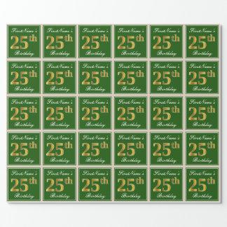 Papel De Presente Elegante, verde, aniversário do ouro do falso 25o
