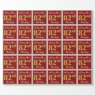 Papel De Presente Elegante, vermelho, aniversário do ouro do falso