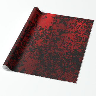 Papel De Presente Elegante vibrante floral à moda preto vermelho do