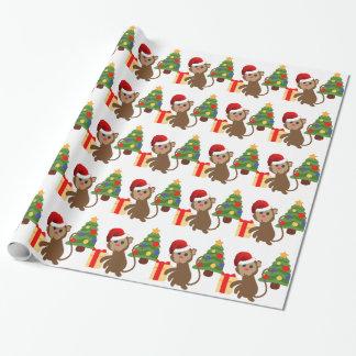 Papel De Presente emoji do macaco de Papai Noel