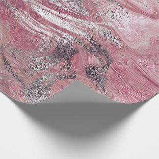 Papel De Presente Encanto brilhante de mármore derretido do rosa de