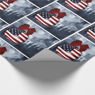 Papel De Presente Enfeites de natal e skyline da bandeira americana