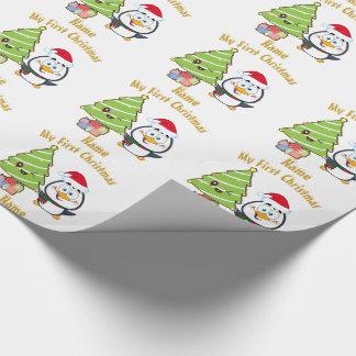 Papel De Presente Engraçado do Natal GIFTWRAP dos bebês PRIMEIRO