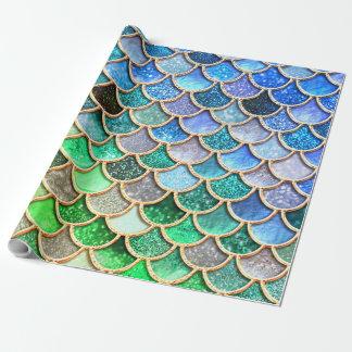 Papel De Presente Escalas brilhantes azuis verdes da sereia do