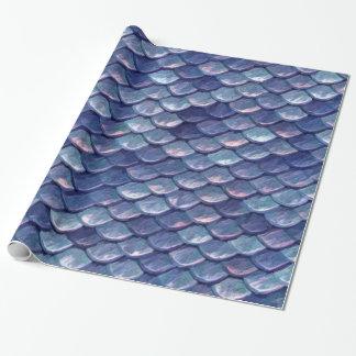 Papel De Presente Escalas do azul do mar da sereia