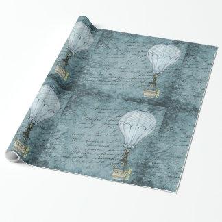 Papel De Presente Escrita azul de Steampunk do balão de ar quente do