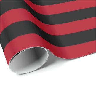Papel De Presente Escuro - listra vermelha/preta