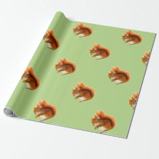 Papel De Presente Esquilo vermelho pintado na arte dos animais