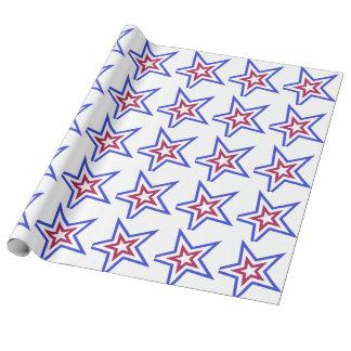 Papel De Presente Estrela branca e azul vermelha