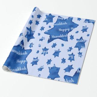 Papel De Presente Estrela de David azul da aguarela com texto