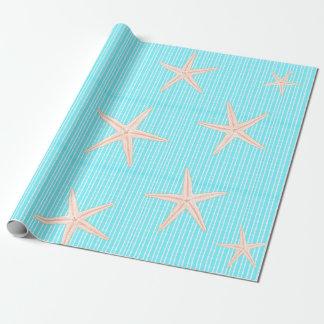 Papel De Presente Estrela do mar coral no azul do Aqua