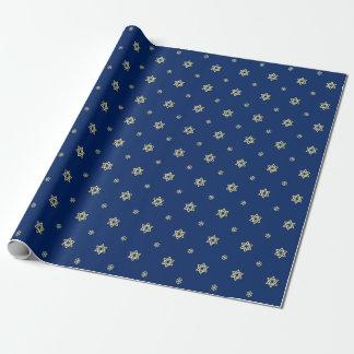 Papel De Presente Estrela e flocos de neve azuis e metálicos do ouro