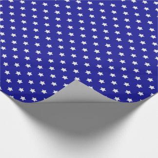 Papel De Presente Estrelas azuis e brancas