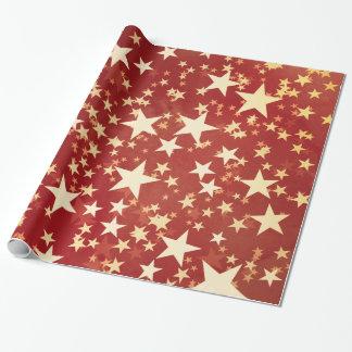 Papel De Presente Estrelas brilhantes do Natal do feriado do ouro