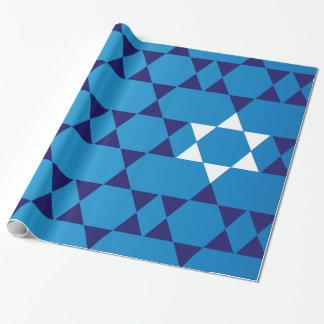 Papel De Presente Estrelas judaicas azuis gigantes