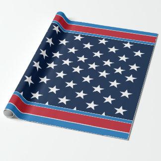Papel De Presente Estrelas patrióticas e bares dos EUA da bandeira
