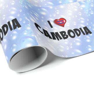 Papel De Presente Eu amo Cambodia, bandeira de Cambodia