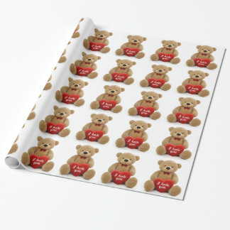 """Papel De Presente """"Eu deio-o"""" urso de ursinho bonito que guardara o"""