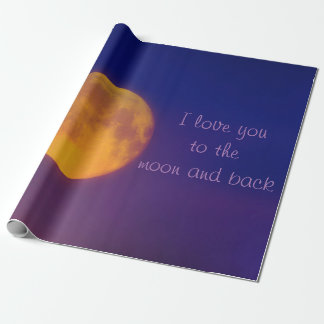 Papel De Presente Eu te amo ao papel de envolvimento da lua e da