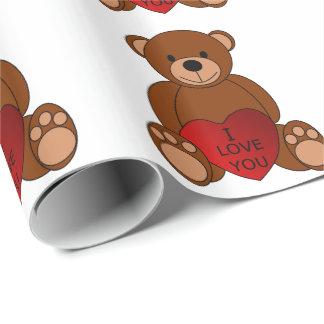 Papel De Presente Eu te amo papel de envolvimento do urso