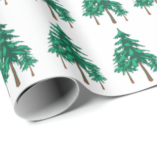Papel De Presente Evergreens frescos do inverno