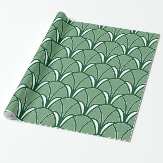 Papel De Presente Fã verde do art deco