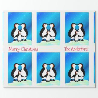 Papel De Presente Família bonito do Natal dos pinguins
