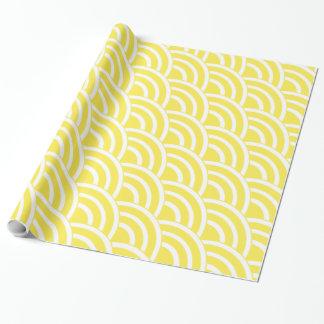 Papel De Presente Fãs do amarelo amarelo e do branco