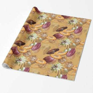 Papel De Presente Feijões de cacau, flores do chocolate, os