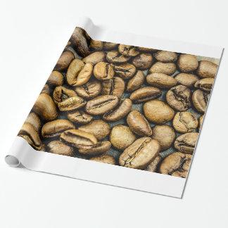 Papel De Presente Feijões de café rústicos deliciosos do ouro