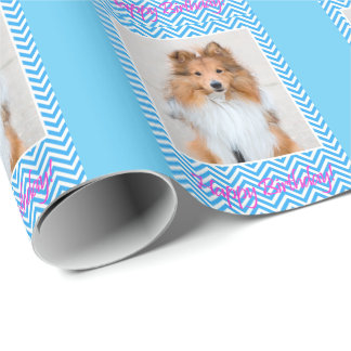 Papel De Presente Feliz aniversario bonito de Sheepdog de Sheltie