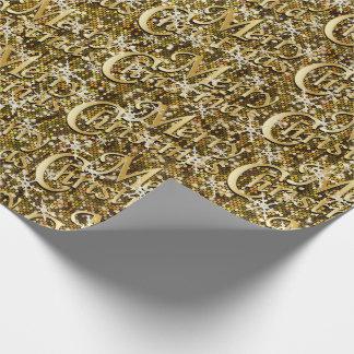 Papel De Presente Feliz Natal Glittery dos confetes do ouro