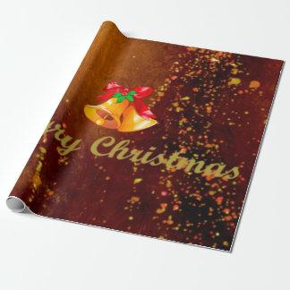 Papel De Presente Feliz Natal, sinos, marrom do ouro