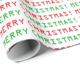 Papel De Presente Feliz Natal vermelho e verde da pia batismal do