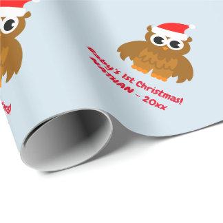 Papel De Presente Feriado bonito do costume da coruja do ø Natal do