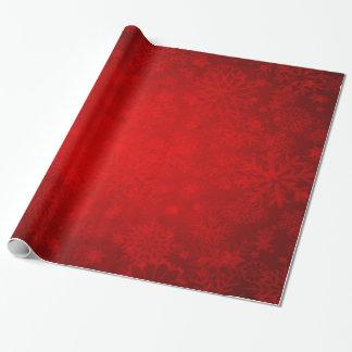 Papel De Presente Feriado do Natal - vermelho vibrante com flocos de