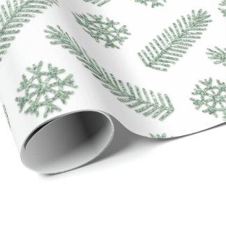 Papel De Presente Feriados brancos da casa de campo do verde da
