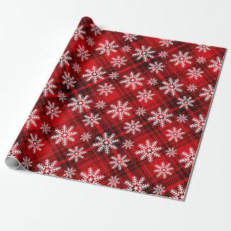 Papel De Presente Flocos de neve bonito no vermelho da xadrez |