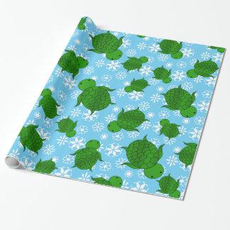 Papel De Presente Flocos de neve bonitos do azul do Natal da