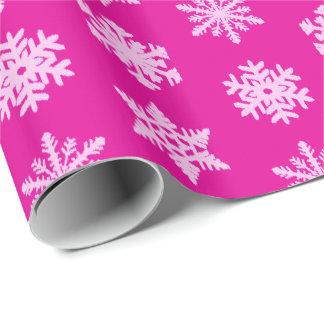 Papel De Presente Flocos de neve de Ikat - rosa do fúcsia e do gelo