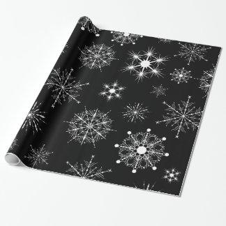 Papel De Presente Flocos de neve pretos & branco Assorted do Natal